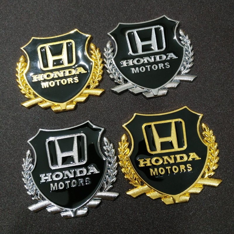 Cặp Logo bông lúa 5.1x5.5cm Honda motors hợp kim