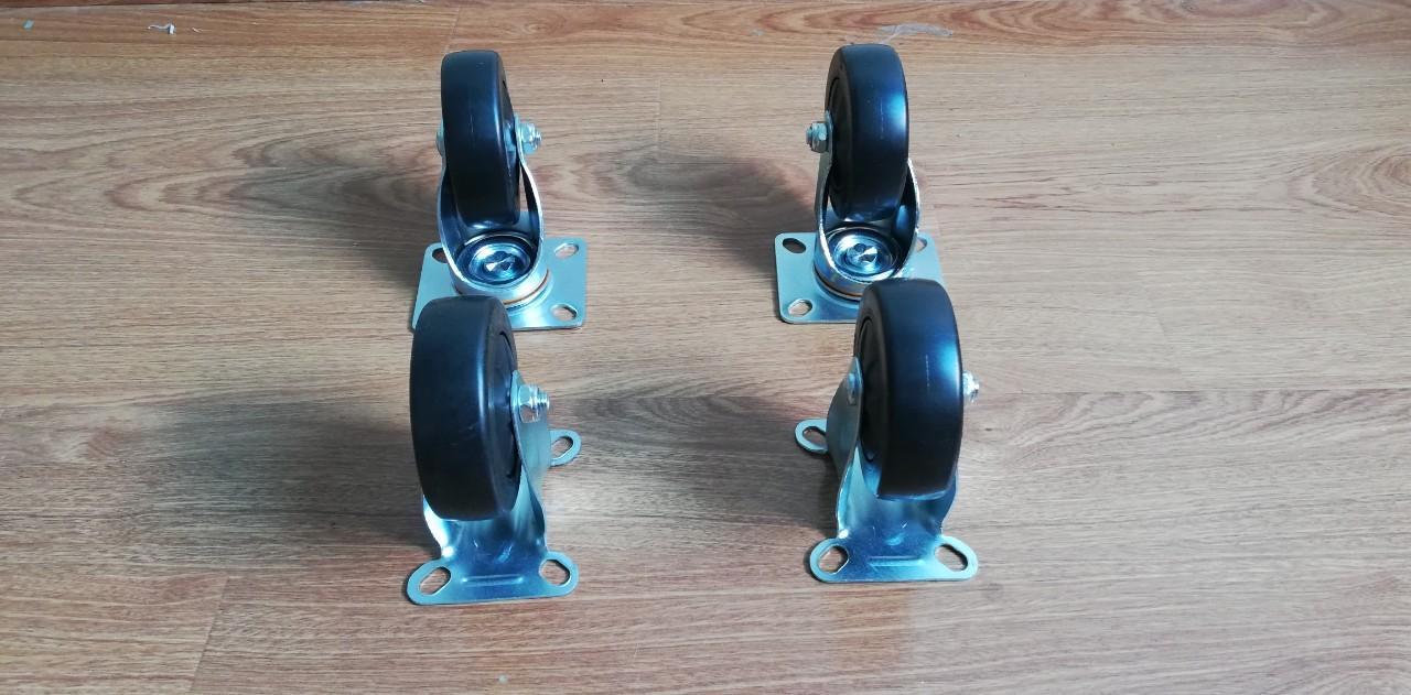 Bộ 4 bánh xe đẩy chịu lực đường kính 95mm - Bánh xe có bi xoay 360 độ (Đen)