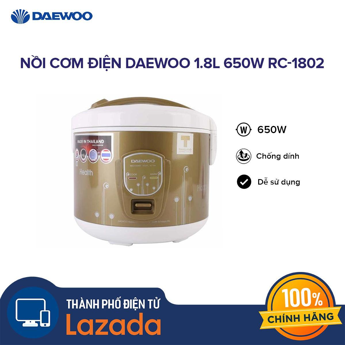 Giá Nồi cơm điện Daewoo 1.8L 650W RC-1802