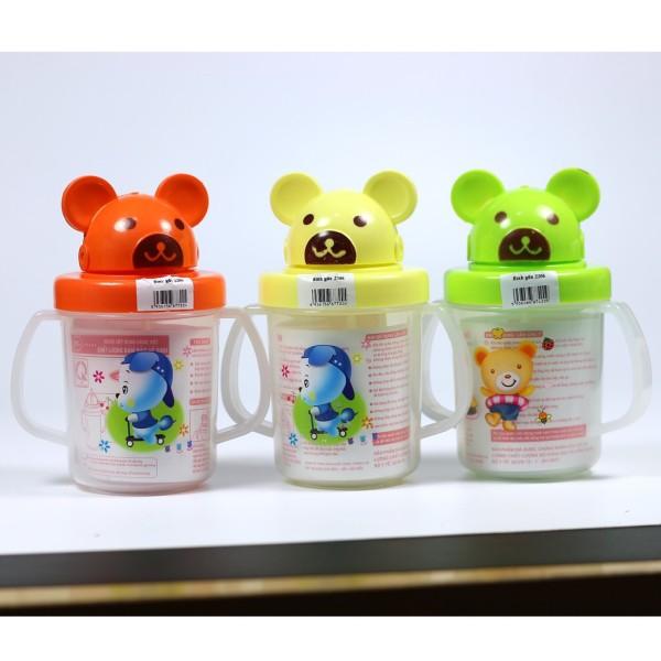 Bình tập uống nước cho bé hình gấu thỏ có ống hút và 2 quai cầm