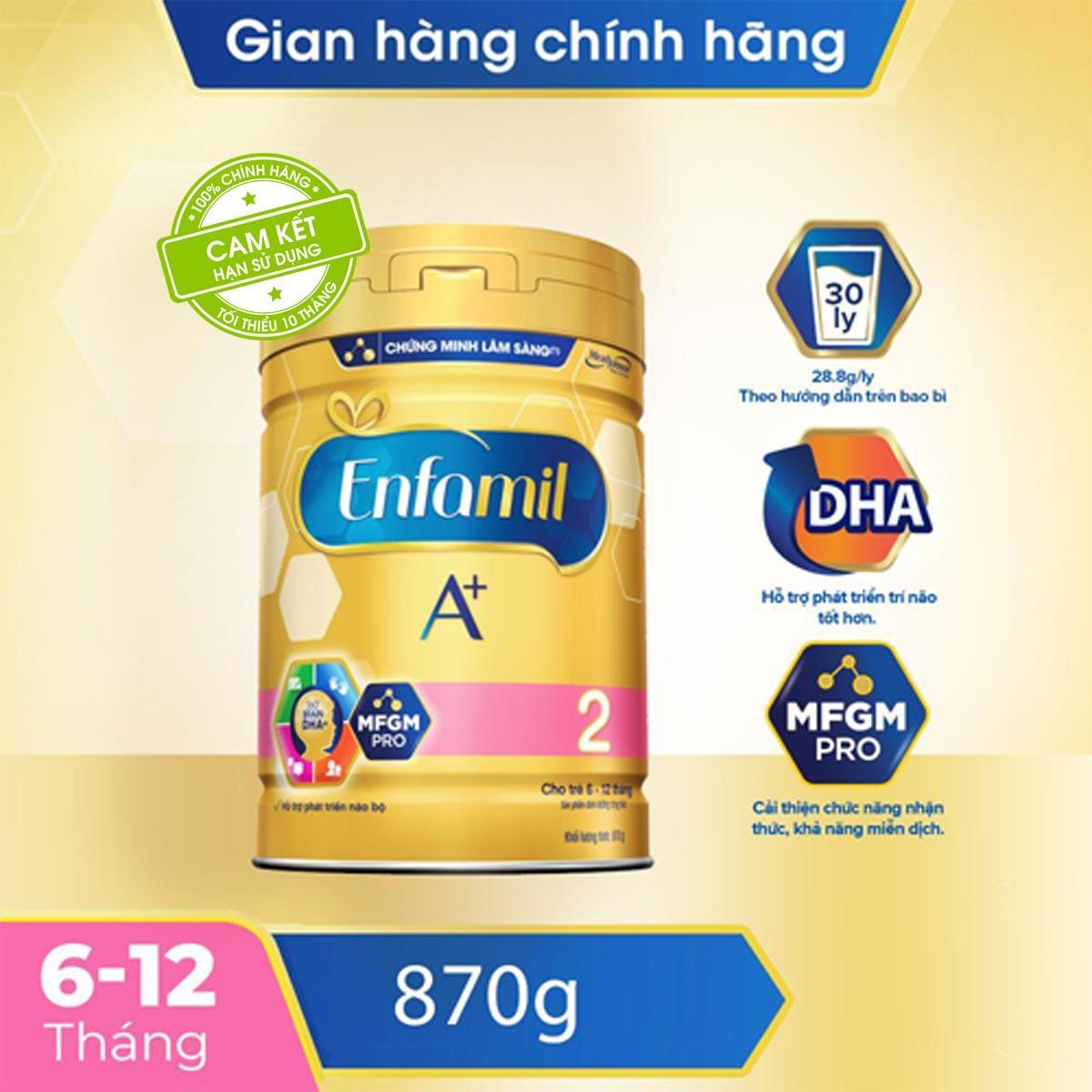Sữa Bột Enfamil A+ 2 Cho Trẻ Từ 6-12 Tháng Tuổi (870g) - Cam Kết HSD Còn ít Nhất 10 Tháng Đang Hạ Giá tại Lazada