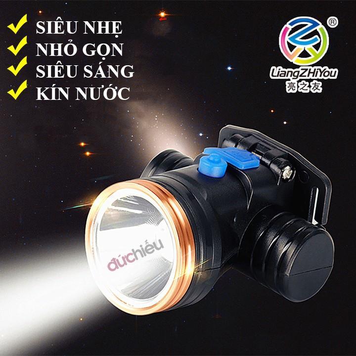 Đèn pin đội đầu siêu sáng có Ánh sáng vàng 5216, đèn đội đầu, đèn pin đeo đầu, đèn đeo trán, đèn soi bắt ếch, đèn đi đêm, chống nước tặng kèm sạc 19K - Đức Hiếu Shop