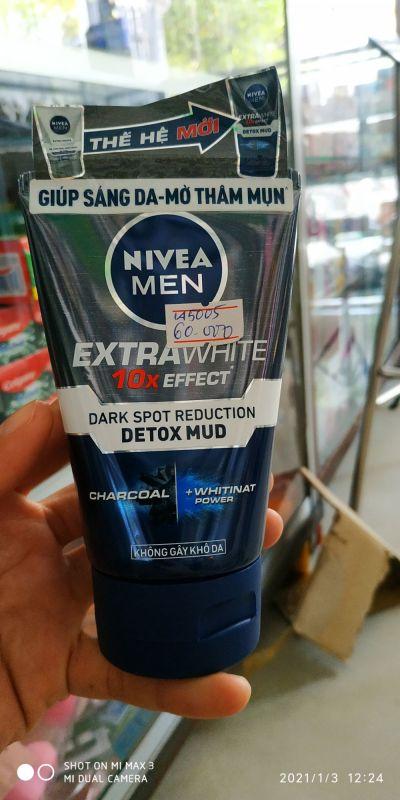 Sữa Rửa Mặt Sáng Da - Mờ Thâm NIVEA Men Extra White 10X DETOX MUD 100GR