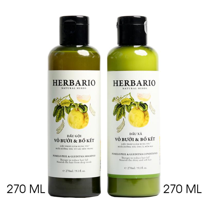 Bộ đôi giảm rụng tóc, kích thích tóc mọc nhanh gồm Dầu gội vỏ bưởi & bồ kết HERBARIO và Dầu xả vỏ bưởi & bồ kết HERBARIO 270ml x 2