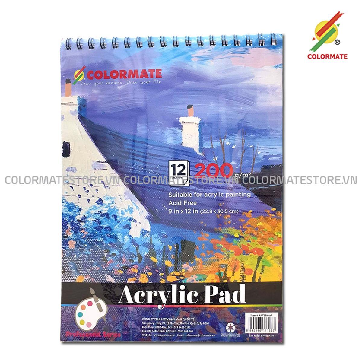 Lazada Giảm Giá Khi Mua Tập Giấy Vẽ Acrylic Pad A4 Định Lượng 200GMS 12 Tờ