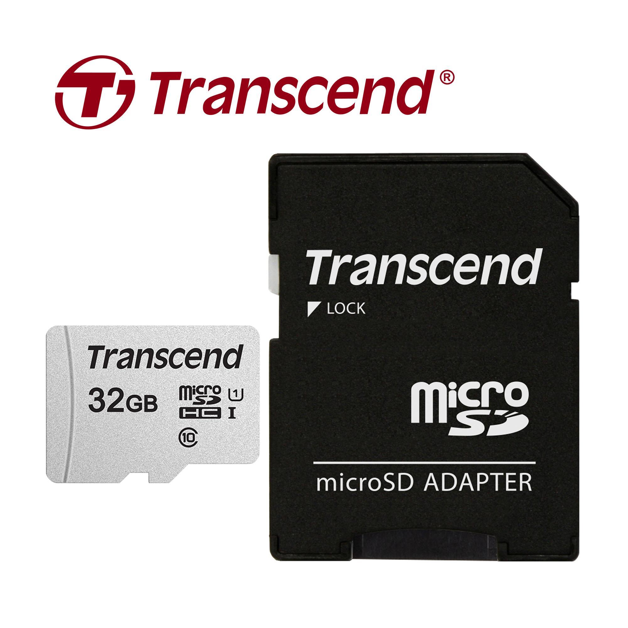 Thẻ nhớ Transcend Micro SDHC 300S C10 U1 V30 A1 95MB/45MB/s 32GB Kèm Adapter - Hàng Chính Hãng