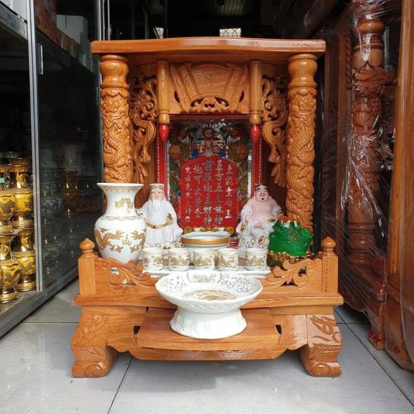 Bảng giá COMBO Bộ bàn thờ thần tài ông địa gỗ gõ đỏ ngang 50 cm vip