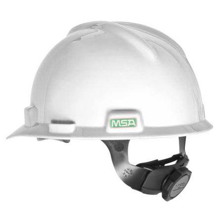 NÓN BẢO HỘ MSA 475358 V-Gard Slotted Safety Helmet Fas-Trac III Suspension, White Standard Size (6.5-8 inch) Made in USA include MSA Chinstrap (tặng kèm dây quai nón chính hãng)