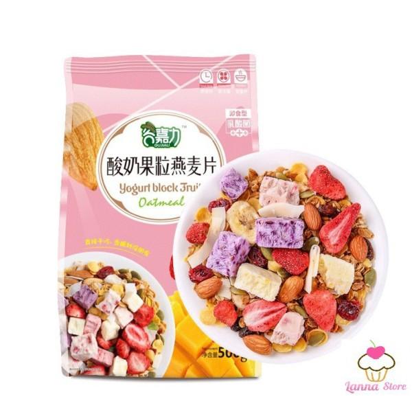 [GIẢM CÂN] Ngũ cốc sữa chua ăn kiêng mix hạt, hoa quả YOGURT FRUIT OATMEAL - Đài Loan (loại có thêm cục sữa chua)