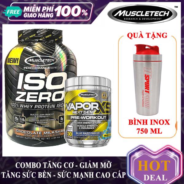[TẶNG BÌNH INOX 750ml ] Combo Whey Protein ISO ZERO 59 lần dùng và Pre Workout Vapor x5 hộp 30 lần dùng hỗ trợ tăng cơ giảm mỡ tăng sức bền sức mạnh đốt mỡ giảm cân giảm mỡ bụng mạnh mẽ