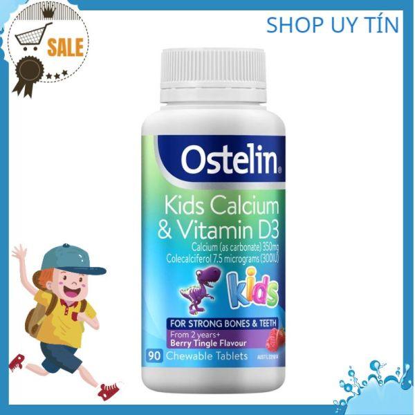 Viên bổ sung Canxi khủng long và D3 trẻ em  Ostelin Kids Calcium & Vitamin D3  Lọ 90 Viên Chuẩn Store Úc Đi Air cao cấp