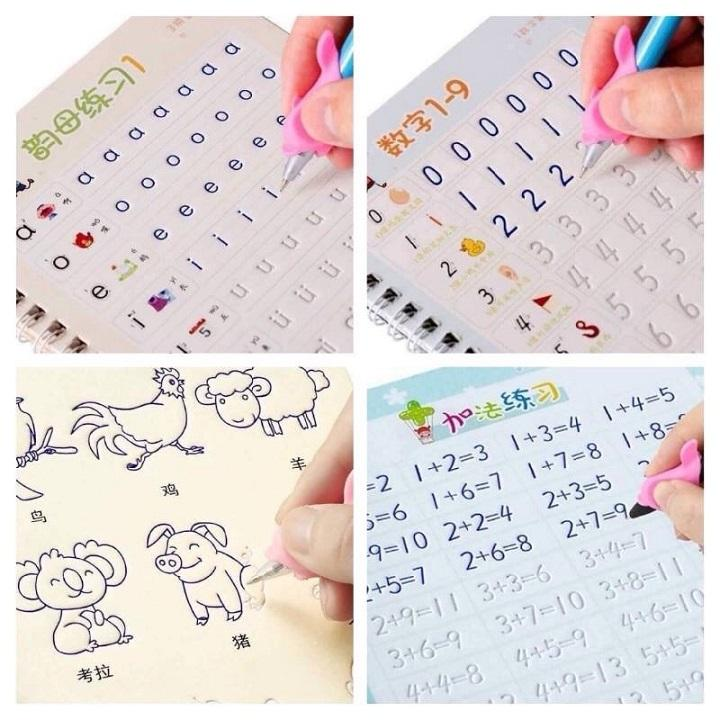 Bộ 3 sách tập tô 3 bút 6 ngòi 3 đệm bút thông minh tự xóa cho bé khiến bé yêu thích chăm chỉ luyện chữ vừa học vừa chơi khám phá