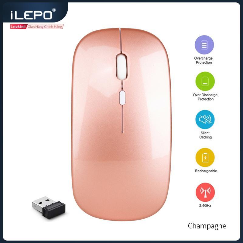 Giá Chuột Không Dây Sạc Pin 2.4G Kiểu Dáng Apple, 1200 DPI , Thiết Kế nhỏ Gọn , Phù Hợp Dân Văn Phòng , Không Tiếng Ồn , Không Ảnh Hưởng Người Khác. Sản Phẩm Bảo Hành 1 Năm, Wireless Mouse ILEPO M5