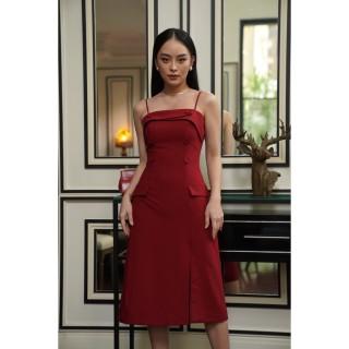 Rechic Đầm Konos Màu Đỏ Hai Dây Túi Giả đính nút xẻ tà thời trang sang trọng thumbnail