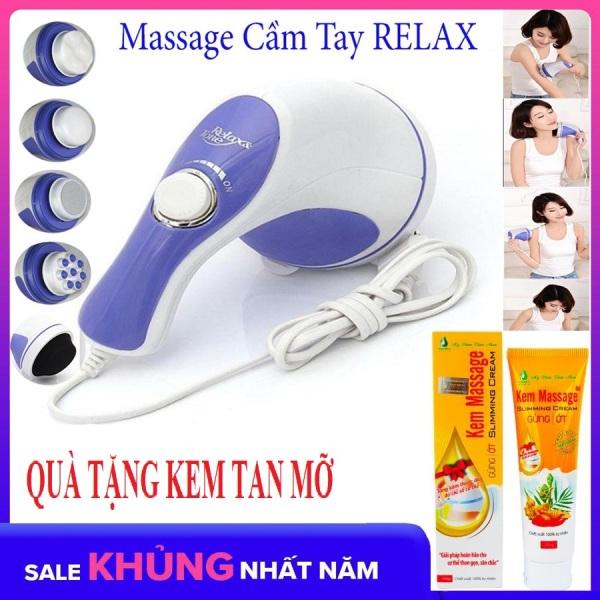 (Tặng Kem Tan Mỡ) Máy Đấm Lưng Kiểu Hàn Quốc Massage Cầm Tay 5 Đầu Đánh (Relax)Cao Cấp Giá Rẻ Chất Lượng Vượt Trội Giảm Nhức Mỏi, Xả Trest Hiệu Quả.