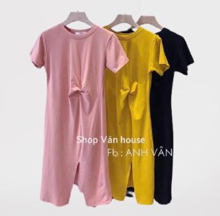 Đầm suông nữ - váy suông trơn xoắn eo vải cotton mịn mềm mát form rộng thumbnail