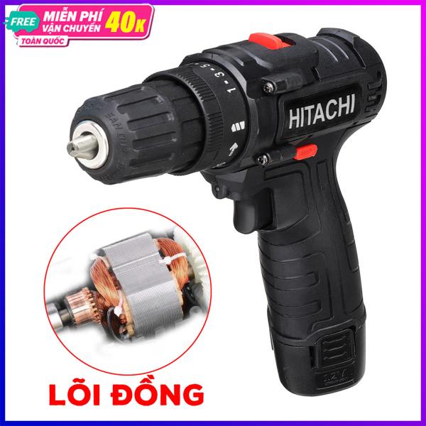 Máy bắt vít pin cầm tay Hitachi 12V 3 chức năng khoan gỗ, khoan sắt, bắt vít - 2 nấc tốc độ 25 cấp độ trượt - khoan sắt - khoan gỗ - bắn tôn - vặn ốc vít