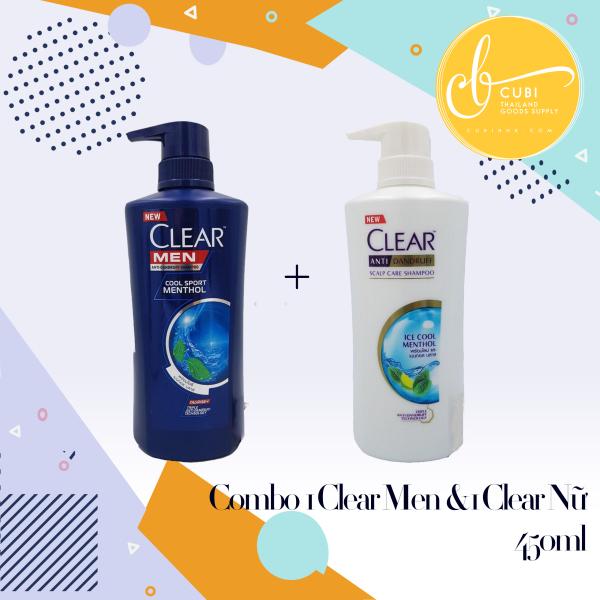 COMBO 1 Chai CLEAR MEN 450ml & 1 Chai CLEAR BẠC HÀ 480ml Thái Lan