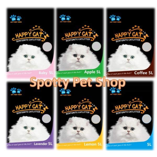 Cát mèo | Cát Vệ Sinh Cho Mèo Cat Happy 5L | Cát Mèo Siêu Khử Mùi Vón Cục