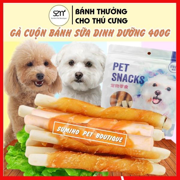 Gà cuộn bánh sữa dinh dưỡng Pet Snacks (túi 400gr/nhiều cây nhỏ) bánh thưởng cho chó
