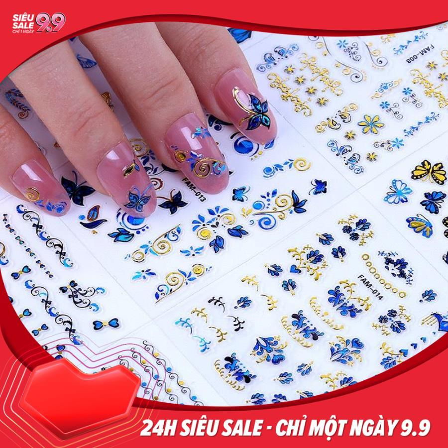 Set 10 tấm decal dán móng (khoảng 30 hình/tấm) - sticker trang trí móng nail màu xanh nhũ siêu đẹp - tự làm móng tại nhà đơn giản