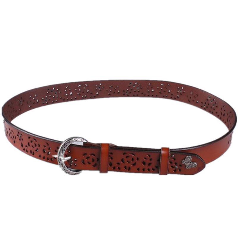 Giá bán Leather Openwork Decorative Wide Belt Fashion Wild Korean Fur Waist Jeans Belt