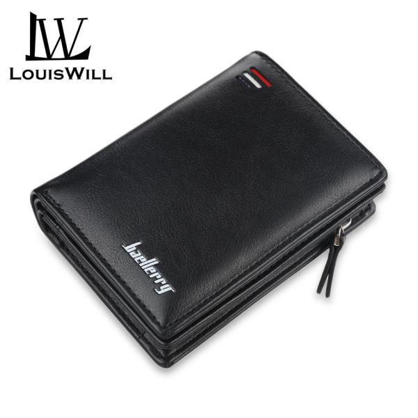 LouisWill Ví nam thời trang cầm tay da PU có khóa kéo kiểu dáng retro đựng thẻ tiền xu