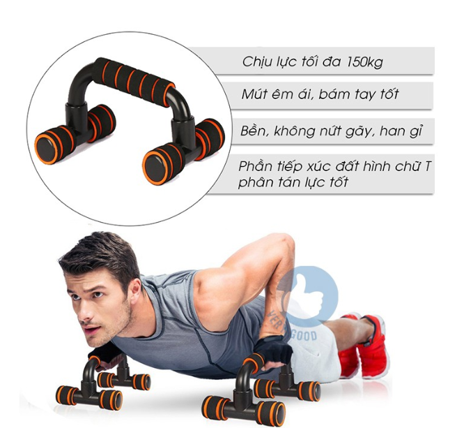 Dụng cụ hít đất chống đẩy Push up Stand chân thẳng-chân cong ( cả cặp) đa nănggiúp thực hiện các động tác chống đẩy, tay cầm có lớp lót dày, chịu lực tối đa 150kg, kích thước 22 x 14 x12cm, dụng cụ tập gym bst007991791