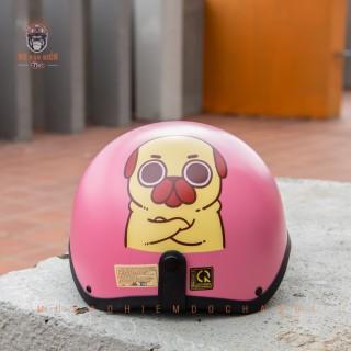 Mũ Bảo Hiểm Nửa Đầu Thiết Kế Tiêu Chuẩn HR1 Chó Pug Hồng thumbnail