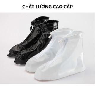 Ủng đi mưa ĐEN/TRẮNG FULL SIZE NAM NỮ - Bọc giày đi mưa - Áo mưa giày, 2 lớp bảo vệ, chống trơn trượt an toàn tuyệt đối .