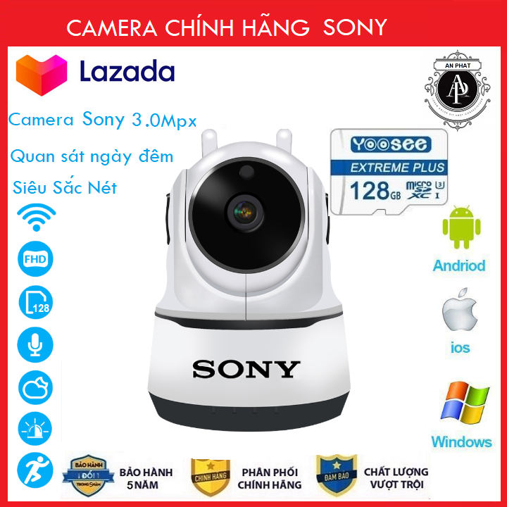 [Combo Camera thẻ 128GB BH 5 NĂM ] Camera Wifi Sony 3.0Trong Nhà Sony 2 Râu 3.0 Mpx Full Hd 1080P, Hỗ Trợ 12 Đèn Hồng Ngoại - An Phat Company (MÃ KÈM THẺ GIÁ 415K VÀ MÃ KHÔNG THẺ 345K)