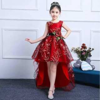 Váy bé gái đầm bé gái đầm công chúa dự tiệc cho bé gái đuôi cá đỏ đô kết hoa kim tuyến sát nách DBG024 từ 1 2 3 4 5 6 7 8 9 10 11 12 nặng 12 đến 25 30 35 40 kg