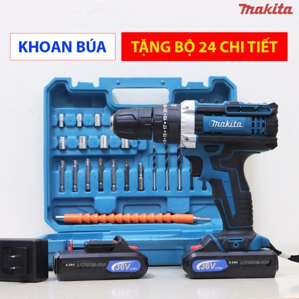 [TẶNG BỘ 24 CHI TIẾT] Máy khoan pin Makita 36V - Lõi đồng - 3 chức năng - Pin xám 5 celll - Máy bắt vít 36V - Máy khoan dùng pin FULL BOX 2 PIN