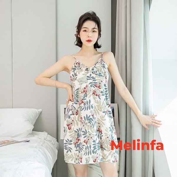 Nơi bán Váy ngủ hai dây nữ phong cách nữ tính chất cotton lanh thoáng mát nhiều màu mã VAV0151