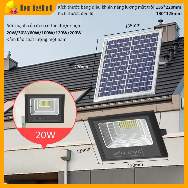 Đèn LED năng lượng mặt trời 20W-30W-60W-100W-200W Ánh sáng trắng Có điều khiển từ xa tiện lợi và thông minh Thân Vỏ Nhôm Tiêu chuẩn chống nước và chống bụi IP67
