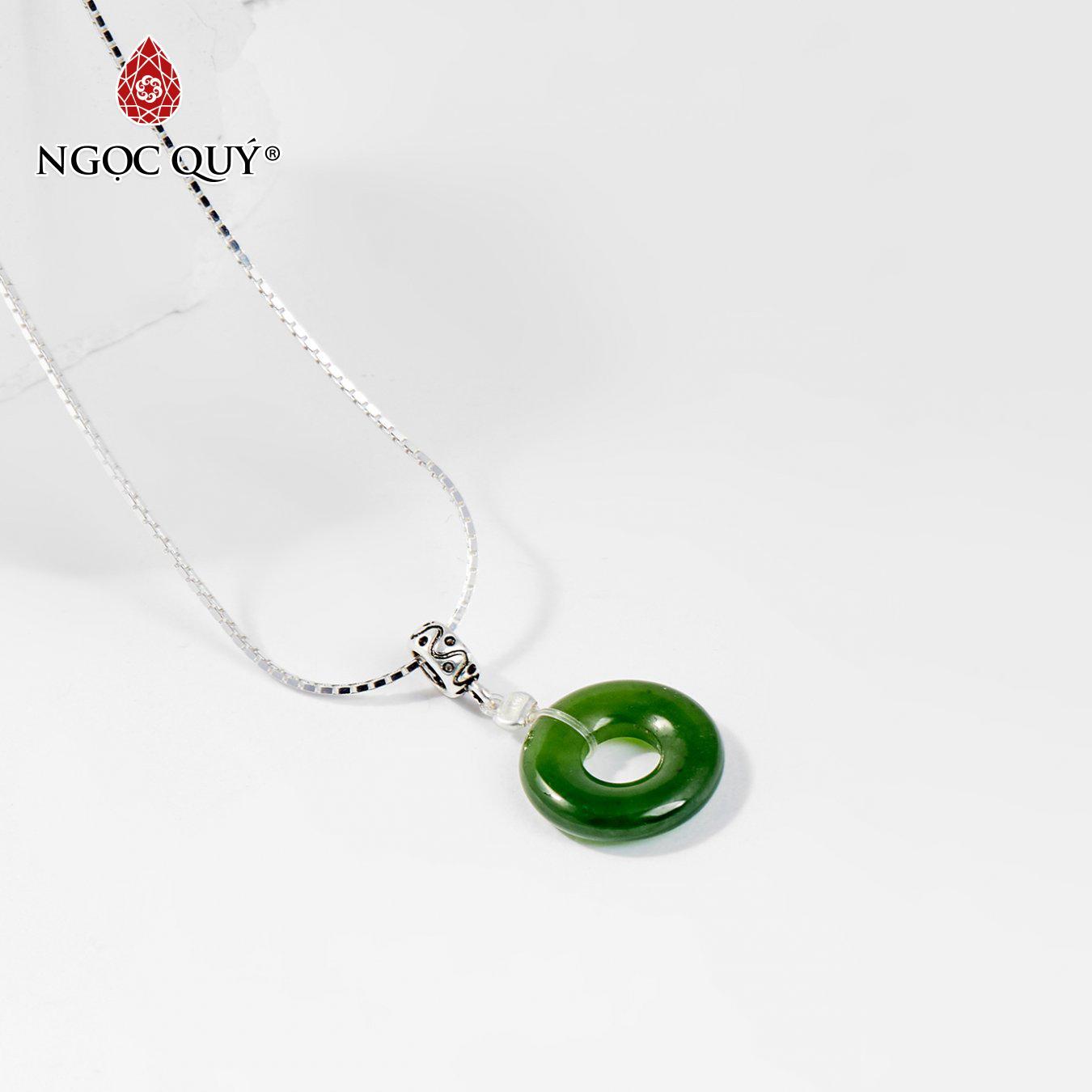 Mặt dây chuyền đá ngọc bích đồng điếu 1.3cm tặng dây chuyền mệnh hỏa,mộc (màu xanh ngọc) - Ngọc Quý Gemstones