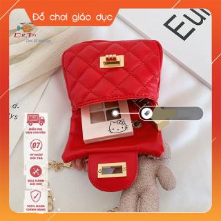 Túi đeo chéo gắn thỏ bông và nơ hồng mẫu mới, thời trang cho bé gái từ 4 tới 10 tuổi DrTOY 2