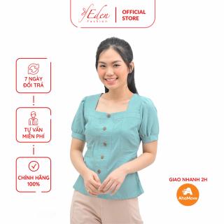 Áo Kiểu Nữ Thời Trang Eden Tay Ngắn Cổ Vuông Phối Nút- ASM123 thumbnail