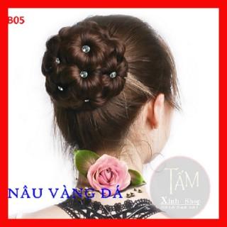 Búi tóc giả trung niên cao cấp dầy đẹp, tóc giả cổ trang BÚI HOA ĐÍNH ĐÁ thumbnail