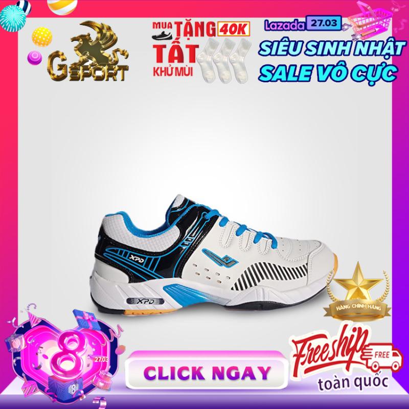 [MẪU BÁN CHẠY] Giày cầu lông nam, giày bóng chuyền nam đế kép bám sân XPD 855 màu Trắng viền xanh da trời Promax, động lực, g sport, g-sport, g- sport, sport g