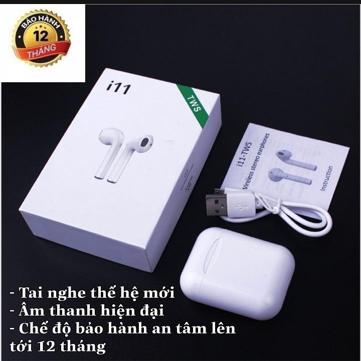 Giá bán Tai nghe bluetooth i11 nút cơ, âm thanh 5.0 đỉnh cao, Tai nghe nhét tai không dây i11, Tai nghe headphone bluetooth, Tai nghe i11 hộp trắng