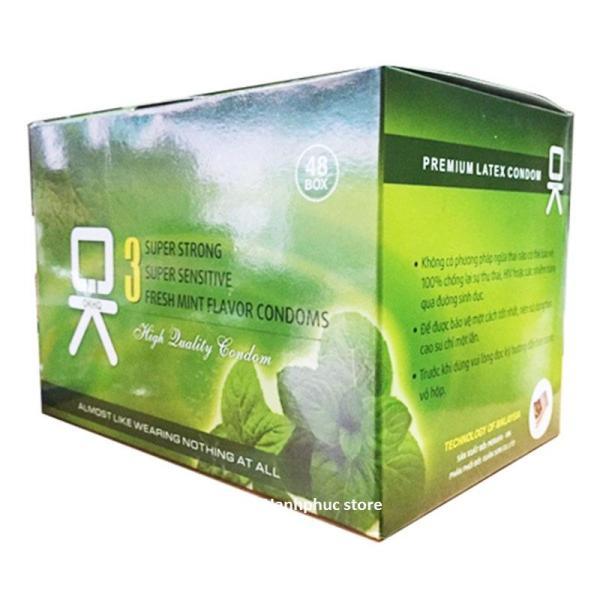 [HCM]Bộ 1 hộp lớn bao cao su OK BẠC HÀ - cho cảm giác mát lạnh thăng hoa-144c