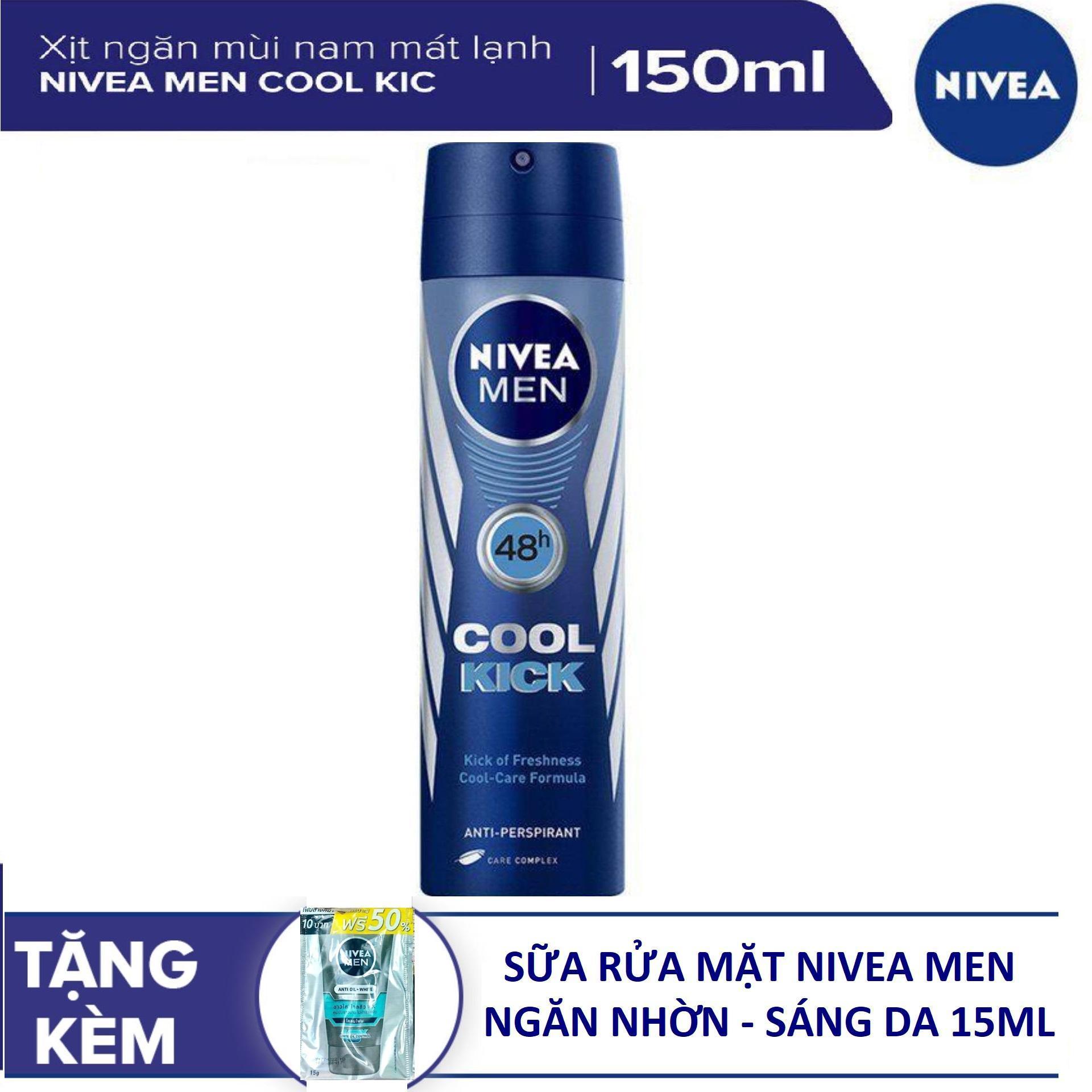 Xịt Ngăn Mùi Nam Nivea men Cool Kick Mát Lạnh 150ml (tặng SRM 15ml)
