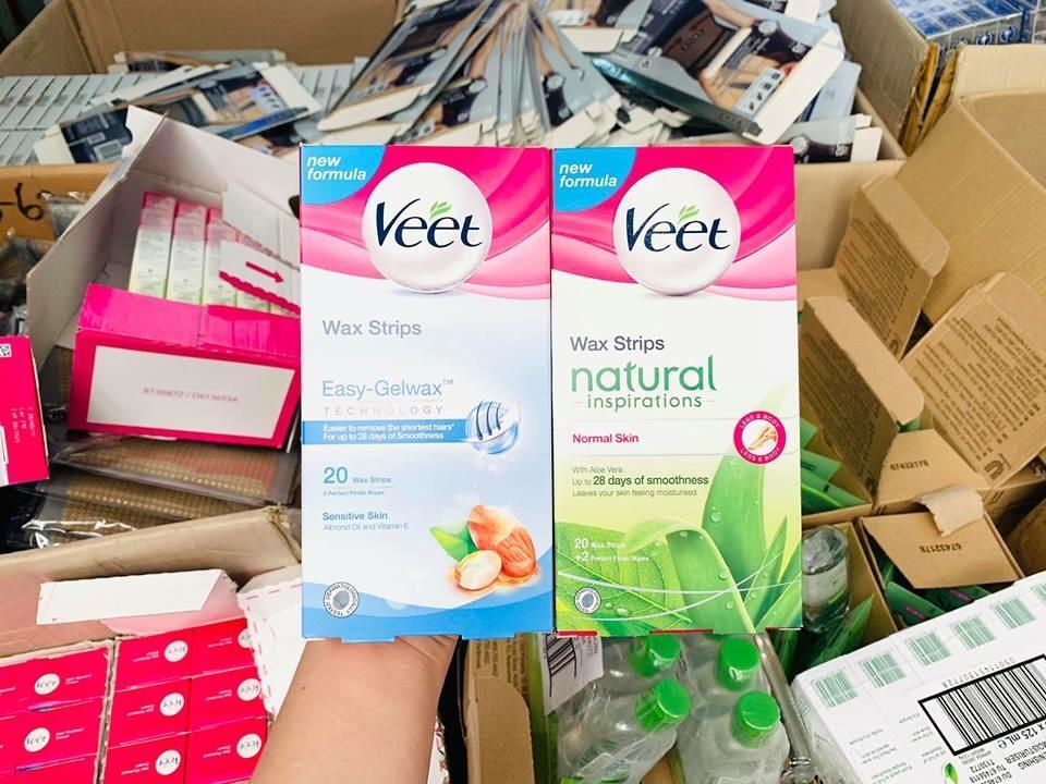 Miếng Dán Tẩy Lông Veet Wax Strips 20 miếng (Dầu Hạnh Nhân & Vitamin E) cao cấp