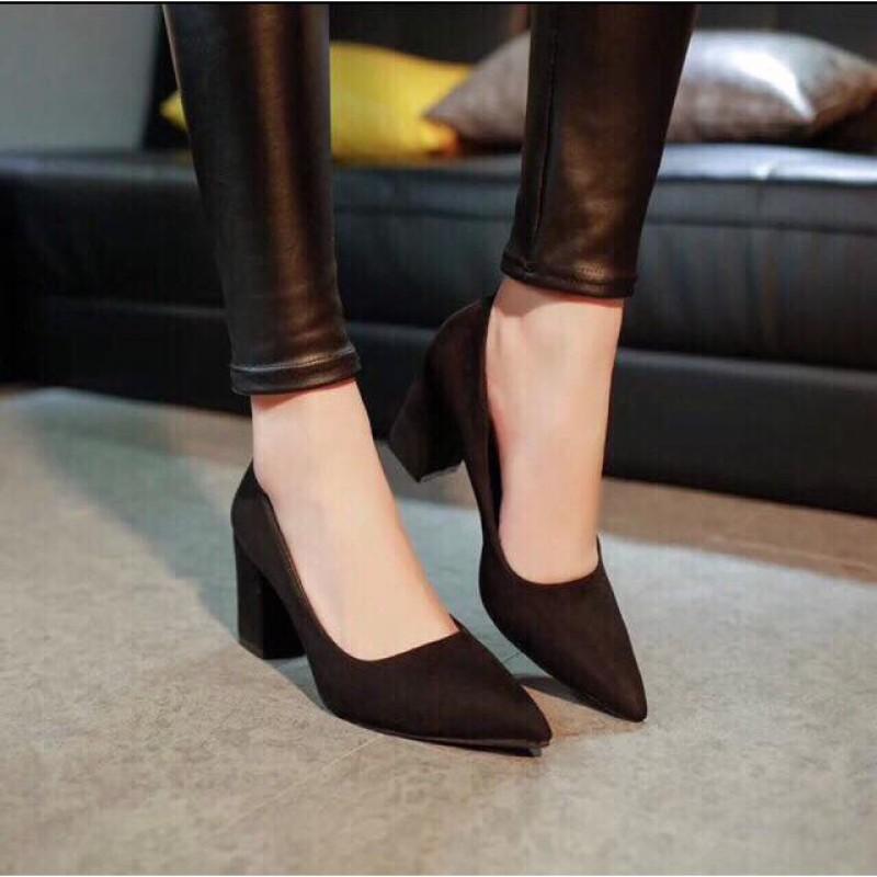 DL Giày cao gót da lộn 5p cao cấp - Hàng VNXK giá rẻ