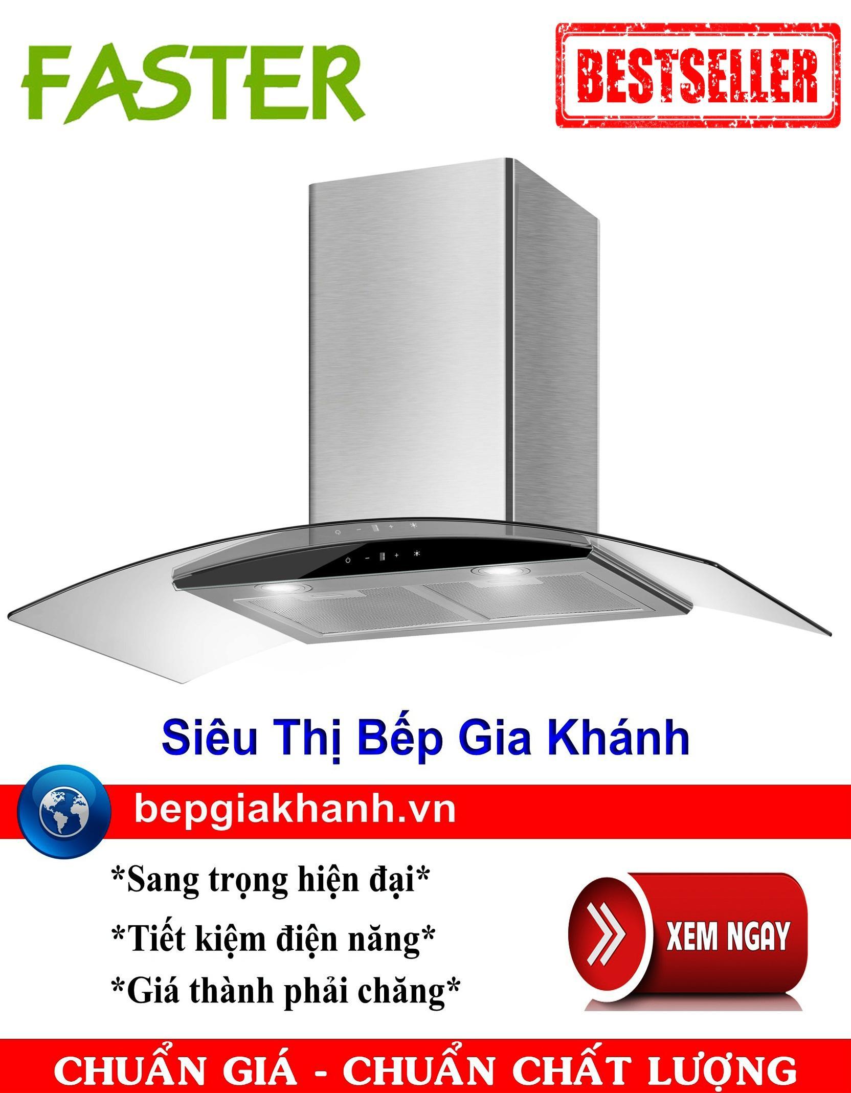 Máy hút mùi nhà bếp dạng kính cong 70cm Faster FS 3388CH1 70, máy hút mùi, máy hút khói, máy hút khói khử mùi, may hut mui, máy hút mùi bếp