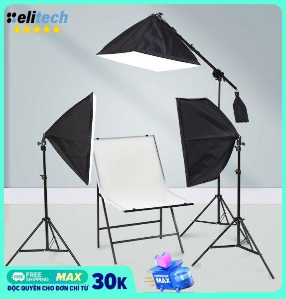 [Nhập ELJAN11 giảm 10%, tối đa 200k, đơn từ 99k]Bộ đèn studio chụp ảnh sản phẩm quay phim livestream chuyên nghiệp bộ gồm chân đèn 2m kèm softbox 50x70cm. Chân đèn chắc chắn tay treo vững chắc chất lượng ánh sáng tốt