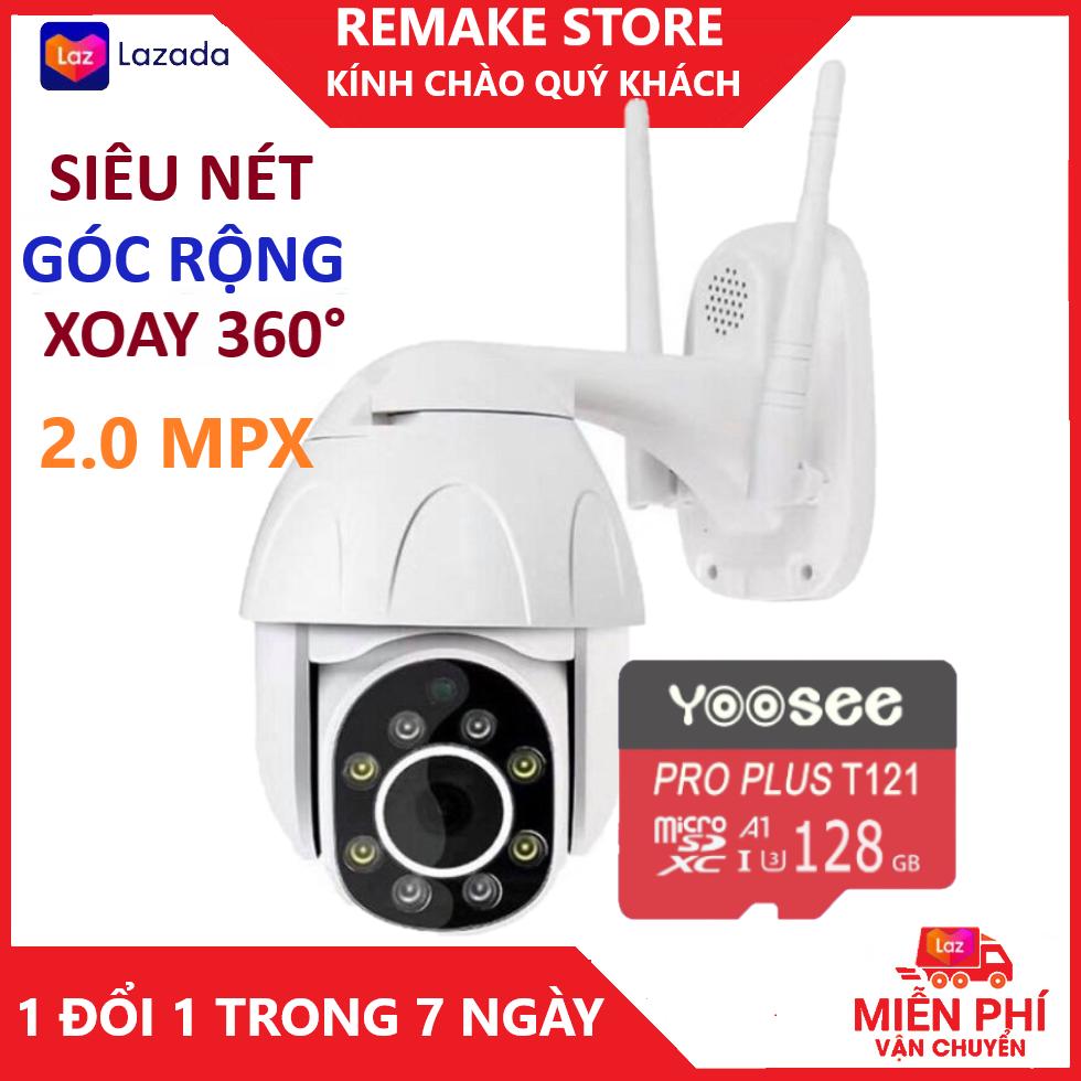 Camera Camera Wifi Camera yoosee ngoài trời PTZ kèm thẻ 128gb, FULL HD 1080P chống nước tuyệt đối,xoay 360 độ, cảnh báo chuyển động ban đêm bảo hành 3 năm