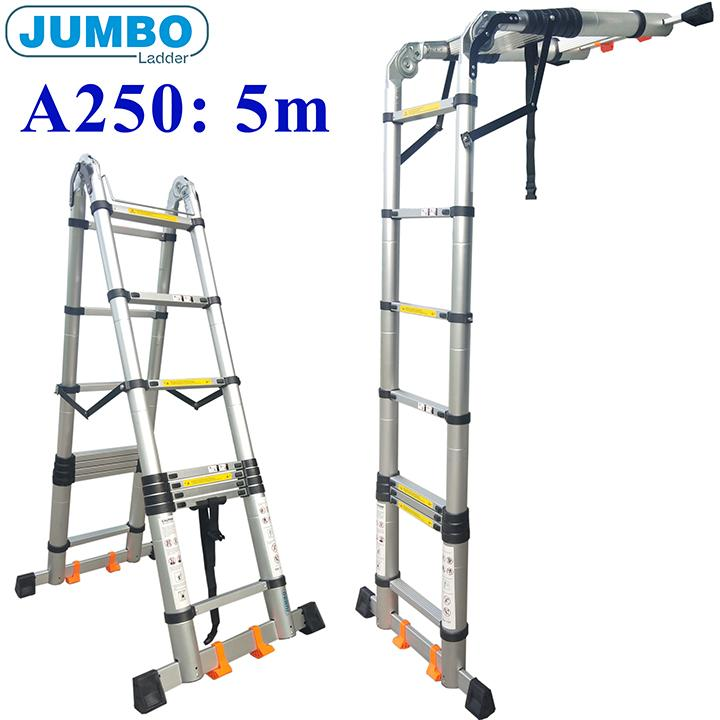 Thang nhôm rút đôi chữ A Jumbo A250 - 5,0m