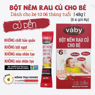 Bột nêm Củ Dền & Phô Mai dành cho bé ăn dặm VABY Hộp 48g (6 x gói 8g) HSD 06 2022 - Gia vị rau củ nêm và rắc dành cho bé từ 6 tháng thumbnail